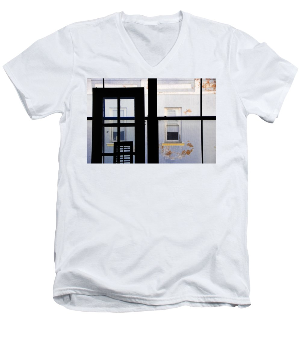 Architecture Men's V-Neck T-Shirt featuring the photograph Rear Window 3 by Skip Hunt