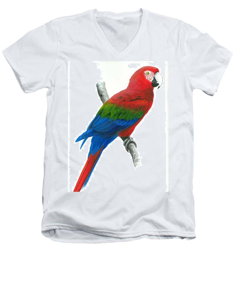 Chris Cox Men's V-Neck T-Shirt featuring the painting Red And Green Macaw by Christopher Cox