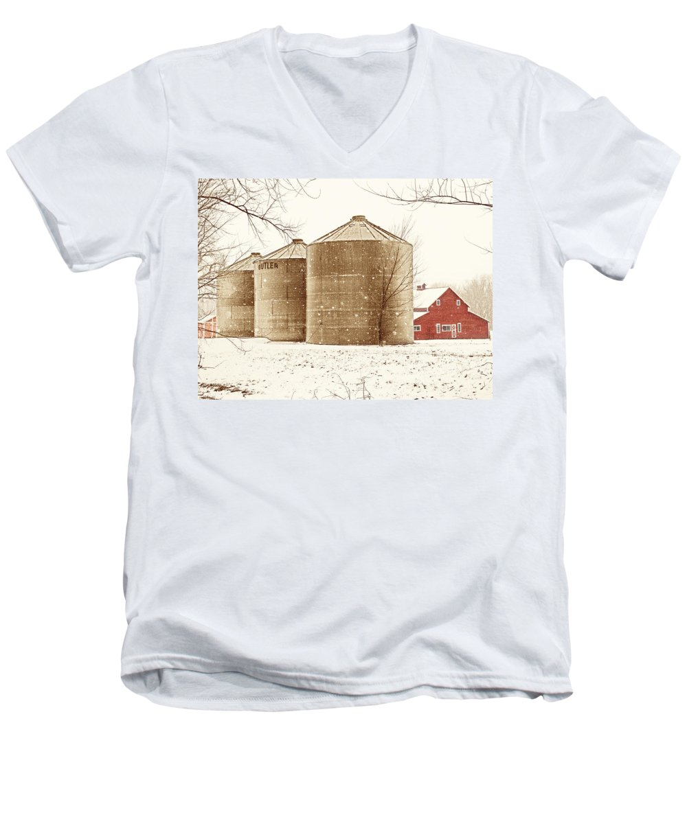 Americana Men's V-Neck T-Shirt featuring the photograph Red Barn In Snow by Marilyn Hunt