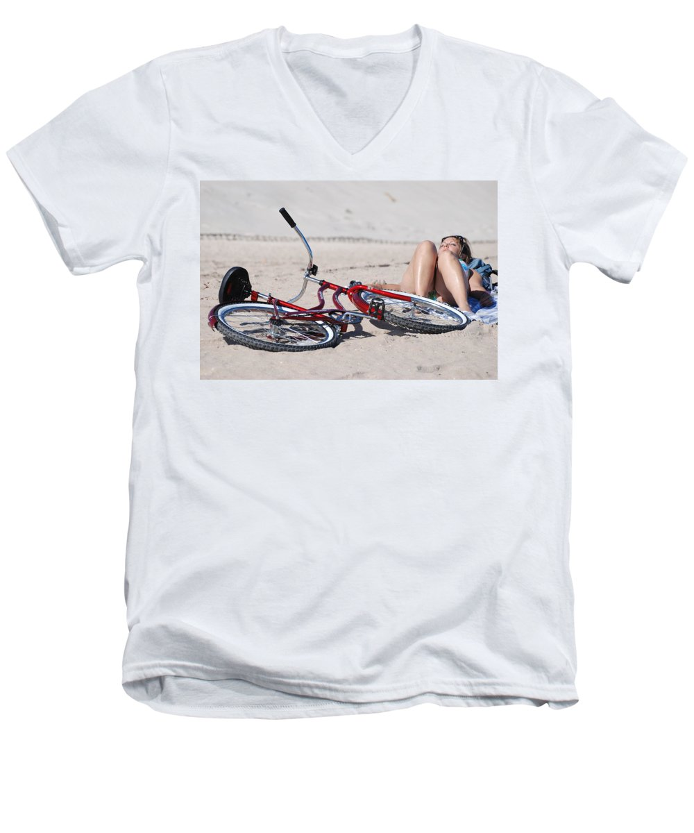 Red Men's V-Neck T-Shirt featuring the photograph Red Bike On The Beach by Rob Hans