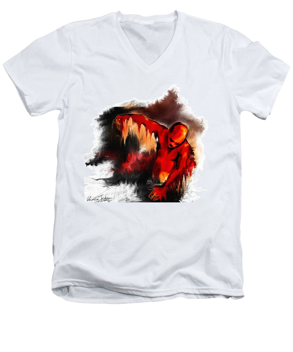 Red Man Passion Sureall Fire Men's V-Neck T-Shirt featuring the digital art Red Man by Veronica Jackson