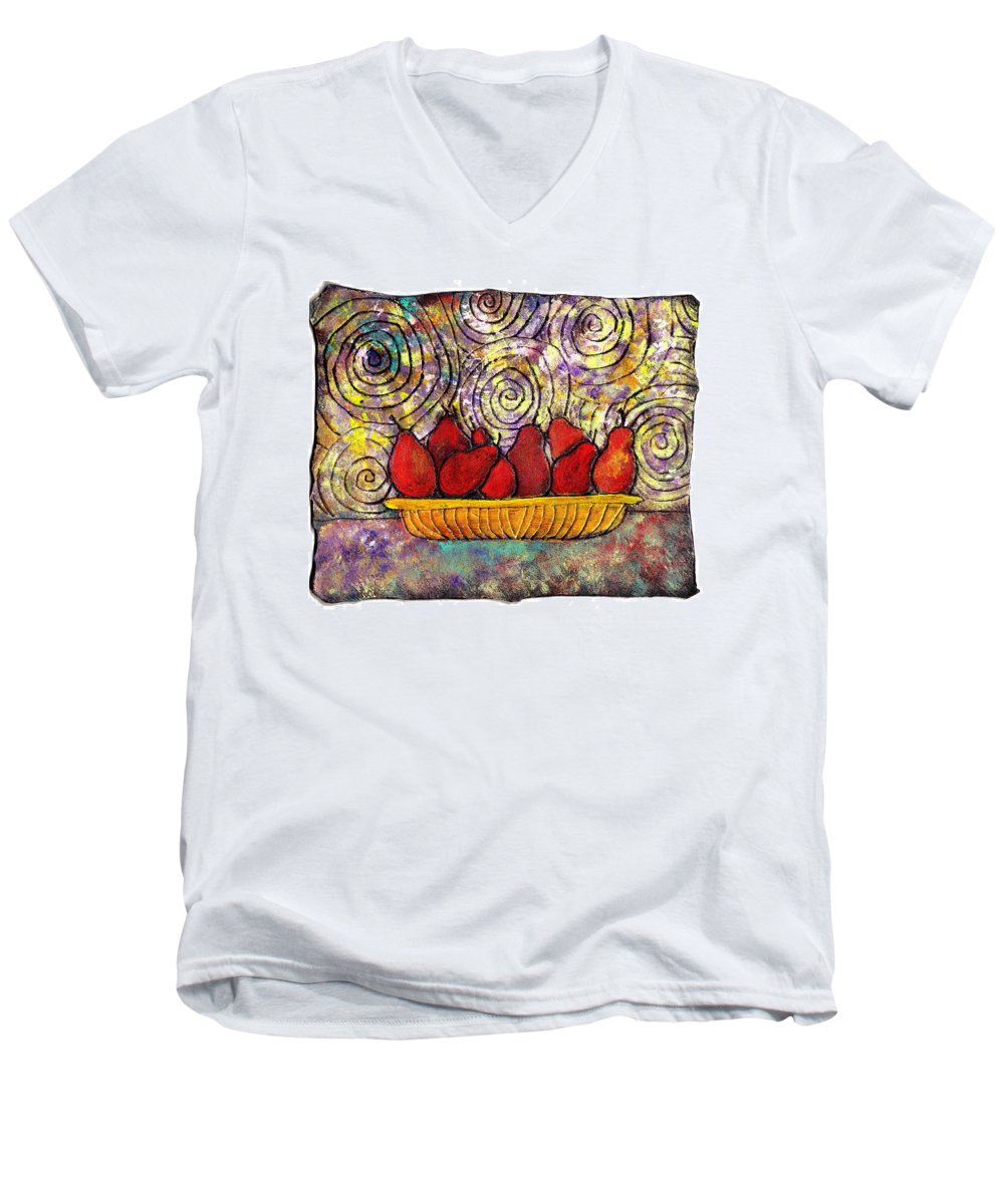 Spirals Men's V-Neck T-Shirt featuring the painting Red Pears In A Bowl by Wayne Potrafka