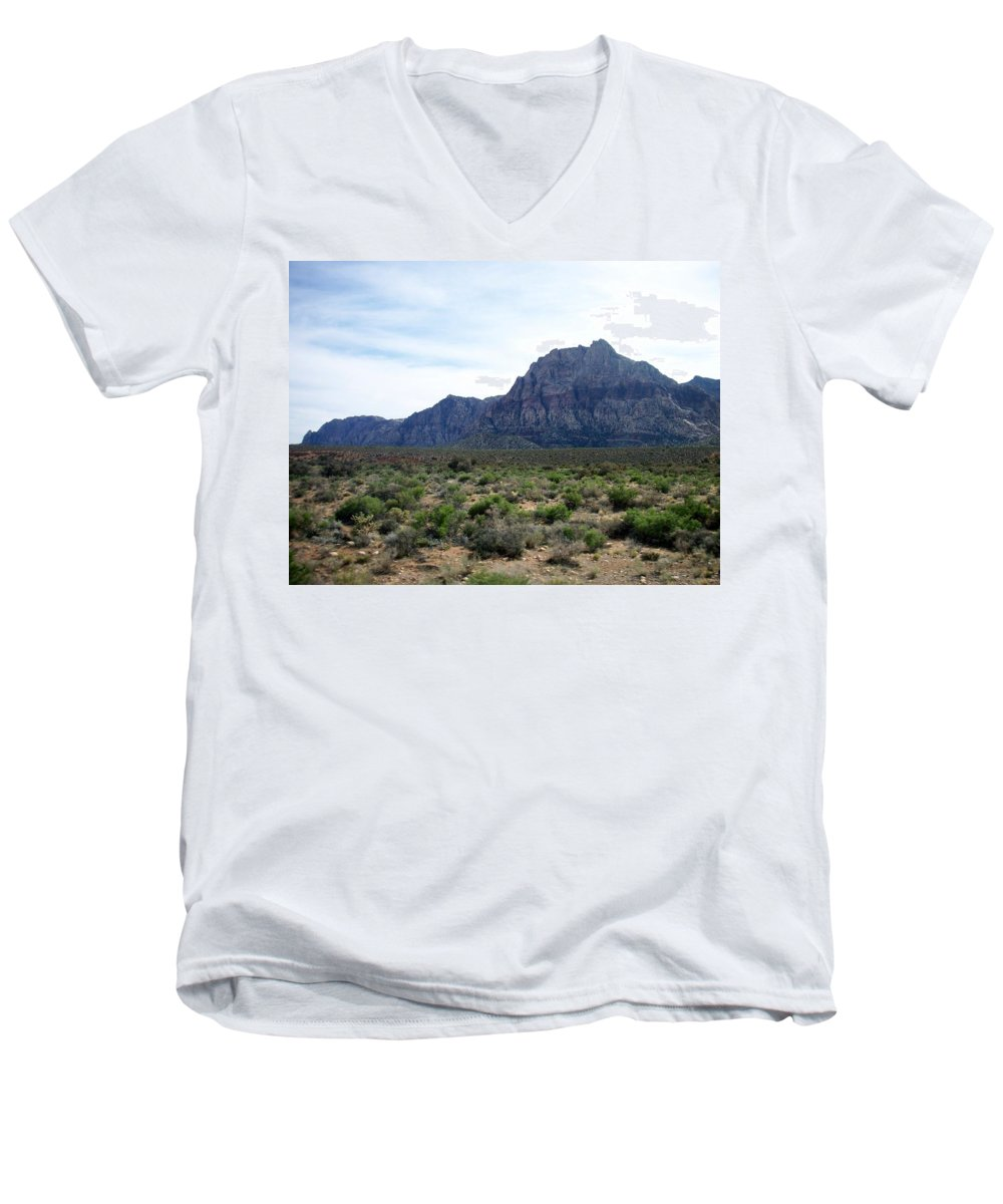 Red Rock Canyon Men's V-Neck T-Shirt featuring the photograph Red Rock Canyon 3 by Anita Burgermeister