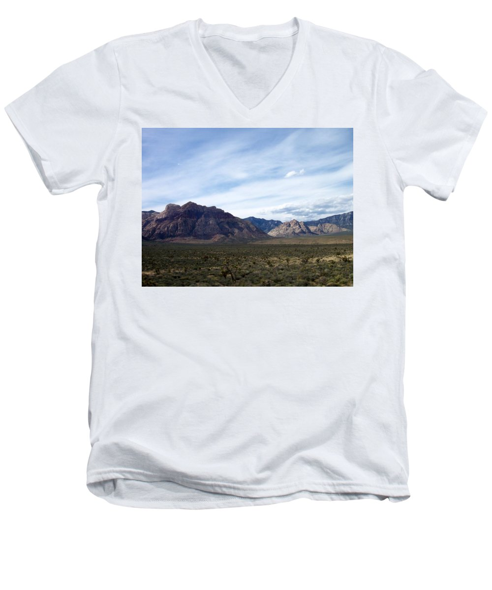 Red Rock Canyon Men's V-Neck T-Shirt featuring the photograph Red Rock Canyon 4 by Anita Burgermeister