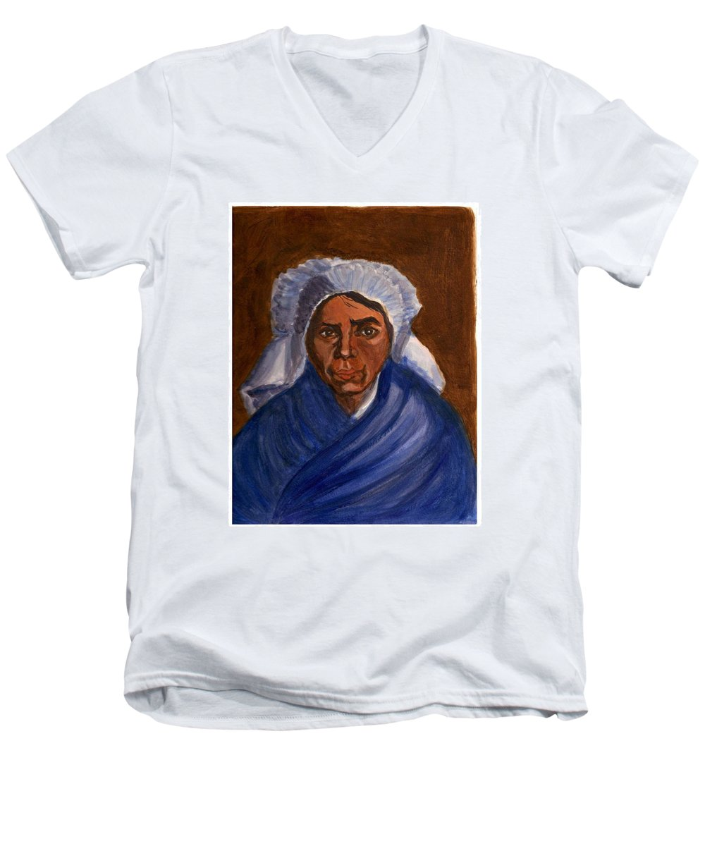 Peasant Woman By Van Gogh Reproduced Men's V-Neck T-Shirt featuring the painting Reproduction Of Van Gogh by Asha Sudhaker Shenoy