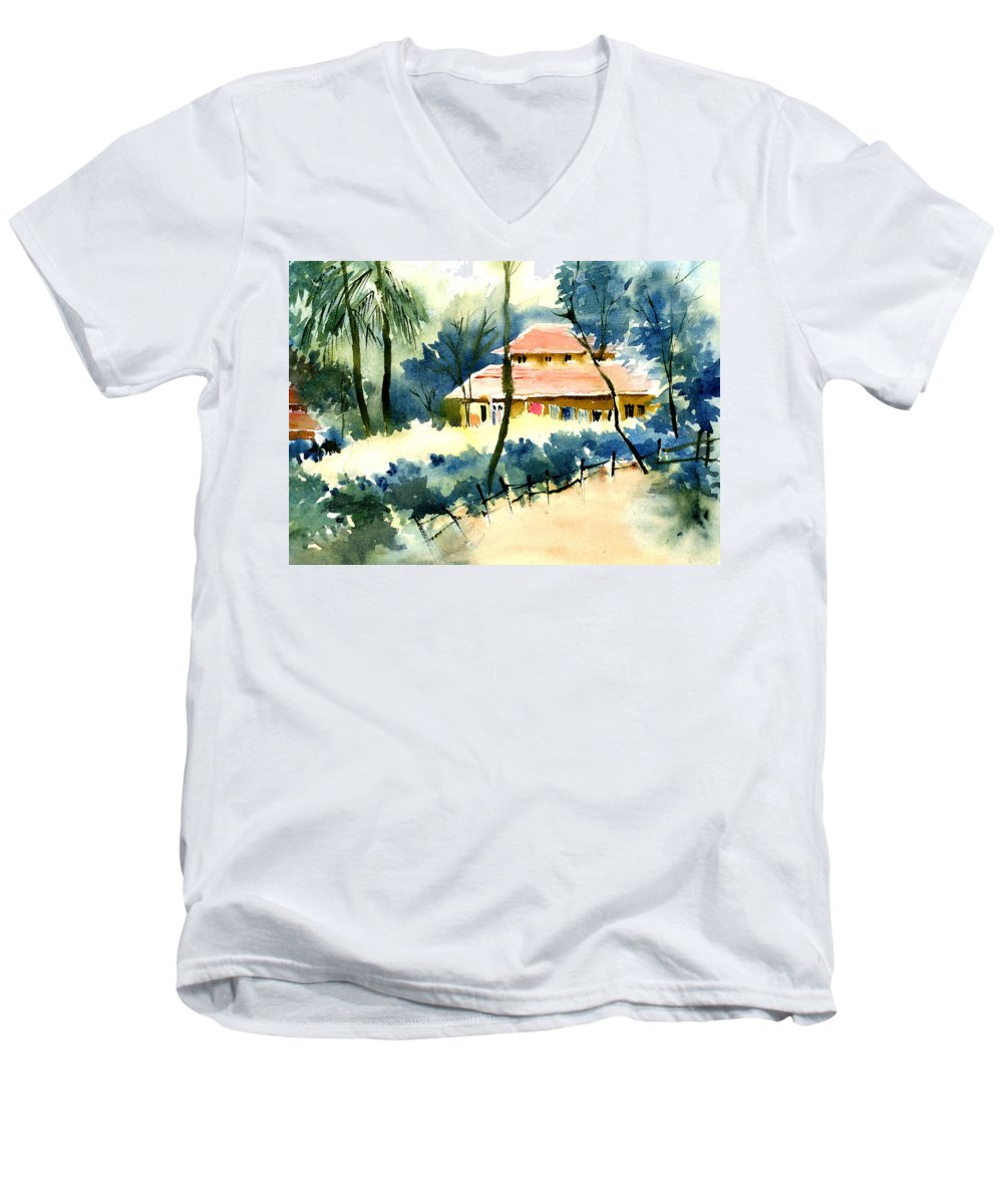 Landscape Men's V-Neck T-Shirt featuring the painting Rest House by Anil Nene
