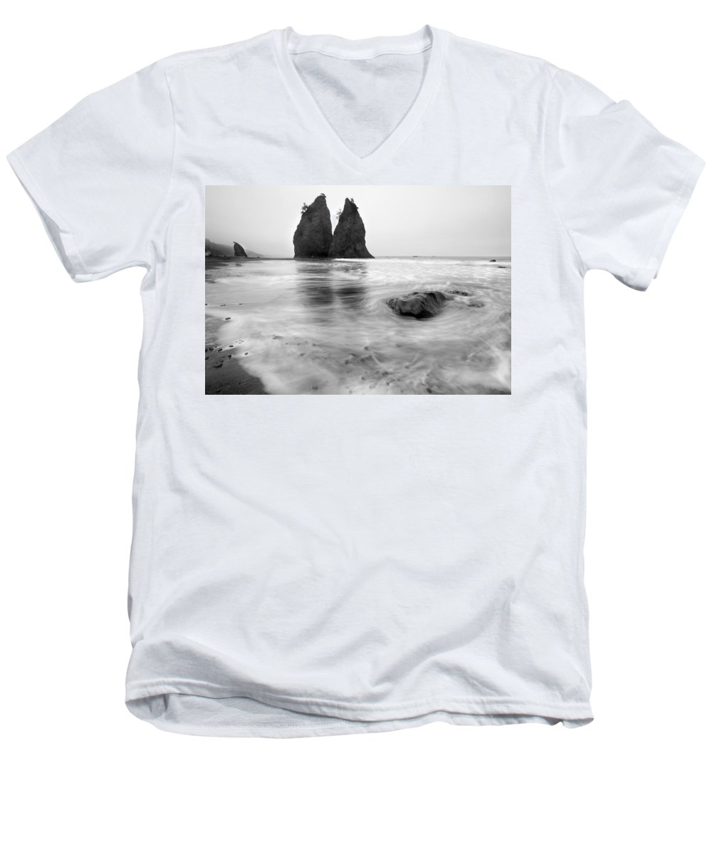 Beach Men's V-Neck T-Shirt featuring the photograph Rialto Reflections by Mike Dawson