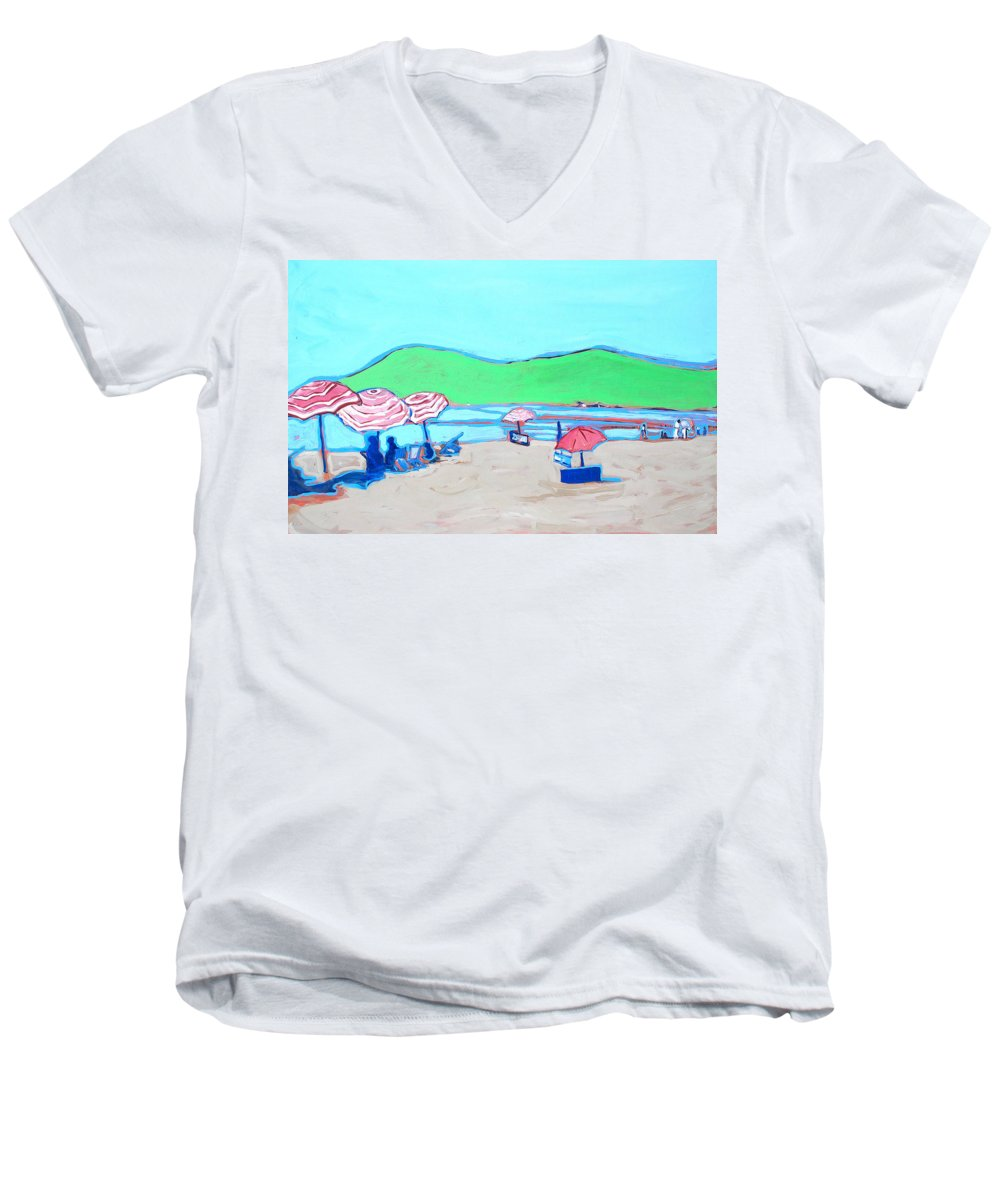 Seashore Men's V-Neck T-Shirt featuring the painting Riviera by Kurt Hausmann