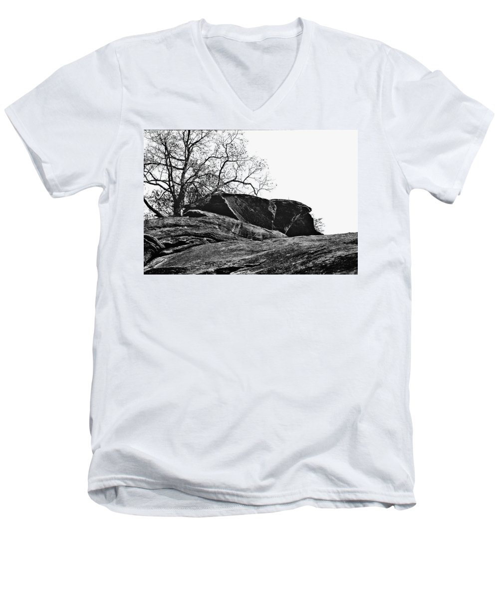 Landscape Men's V-Neck T-Shirt featuring the photograph Rock Wave by Steve Karol