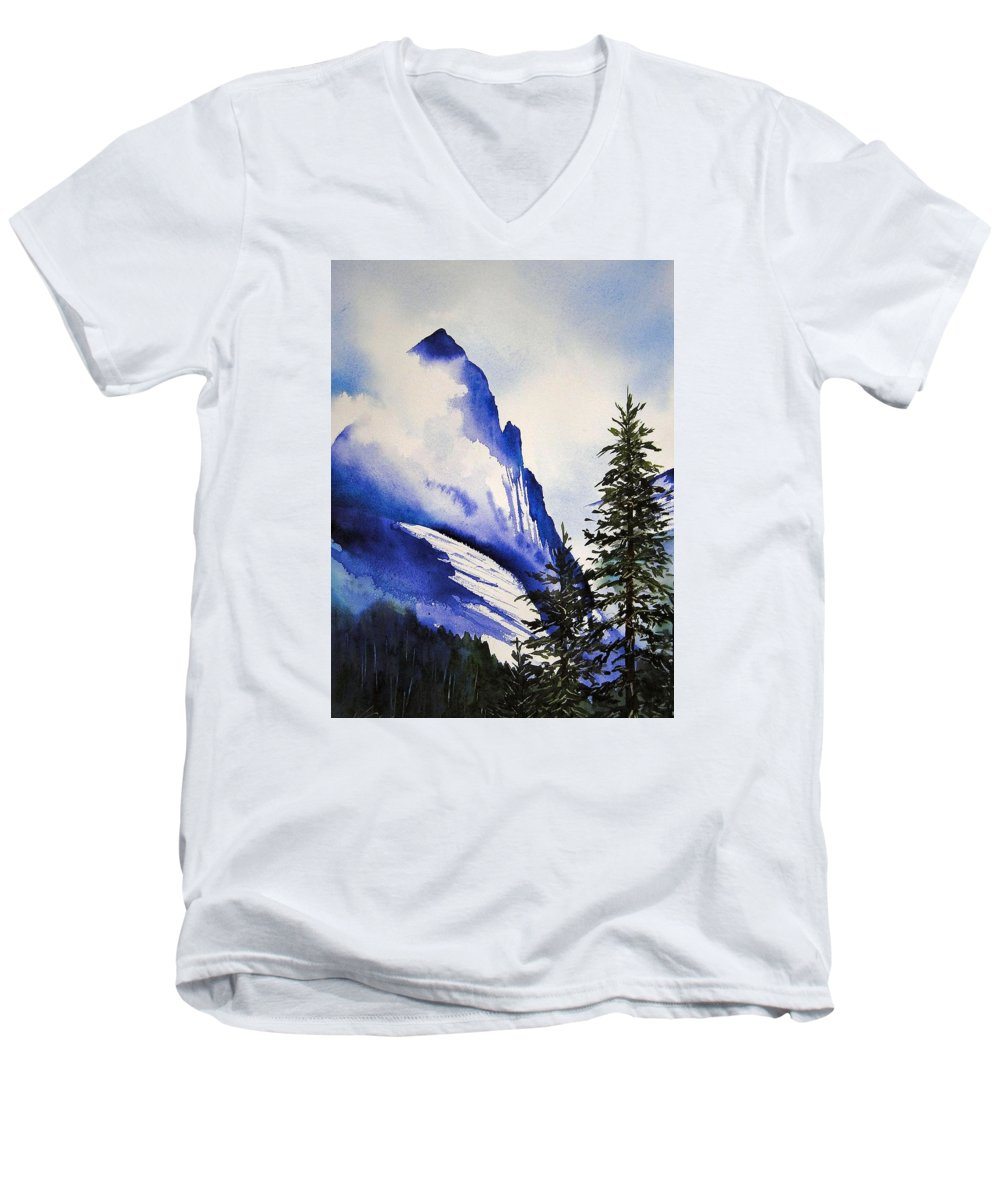 Rocky Mountains Men's V-Neck T-Shirt featuring the painting Rocky Mountain High by Karen Stark