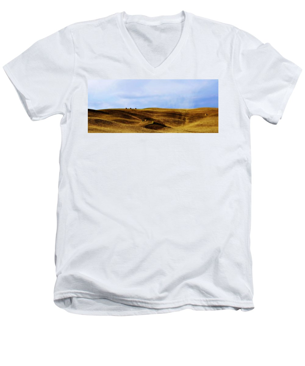 Italy Men's V-Neck T-Shirt featuring the photograph Rolling Hills Of Hay by Marilyn Hunt