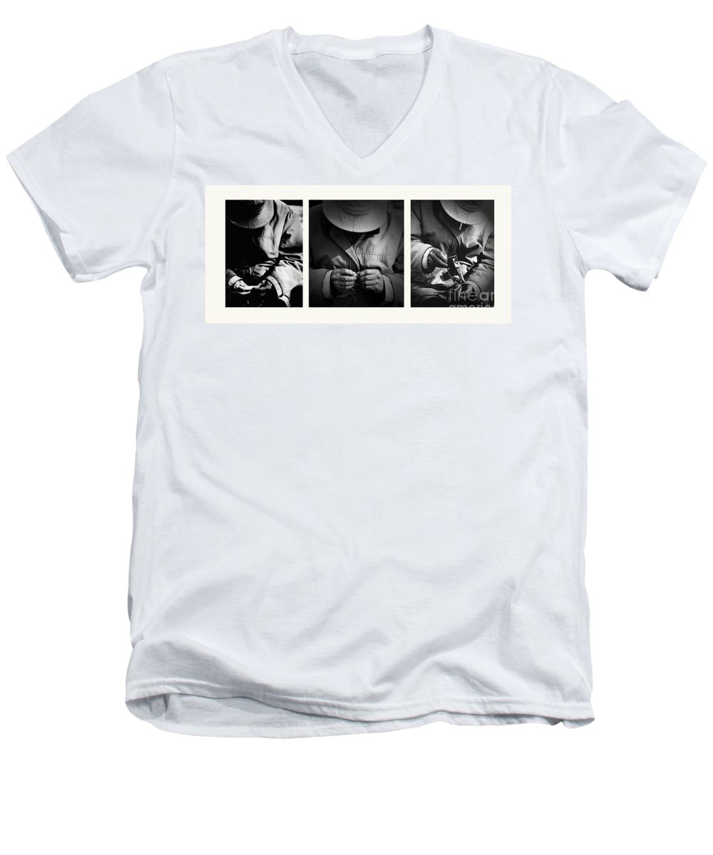 Rollup Rolling Cigarette Smoker Smoking Man Hat Monochrome Men's V-Neck T-Shirt featuring the photograph Rolling His Own by Avalon Fine Art Photography