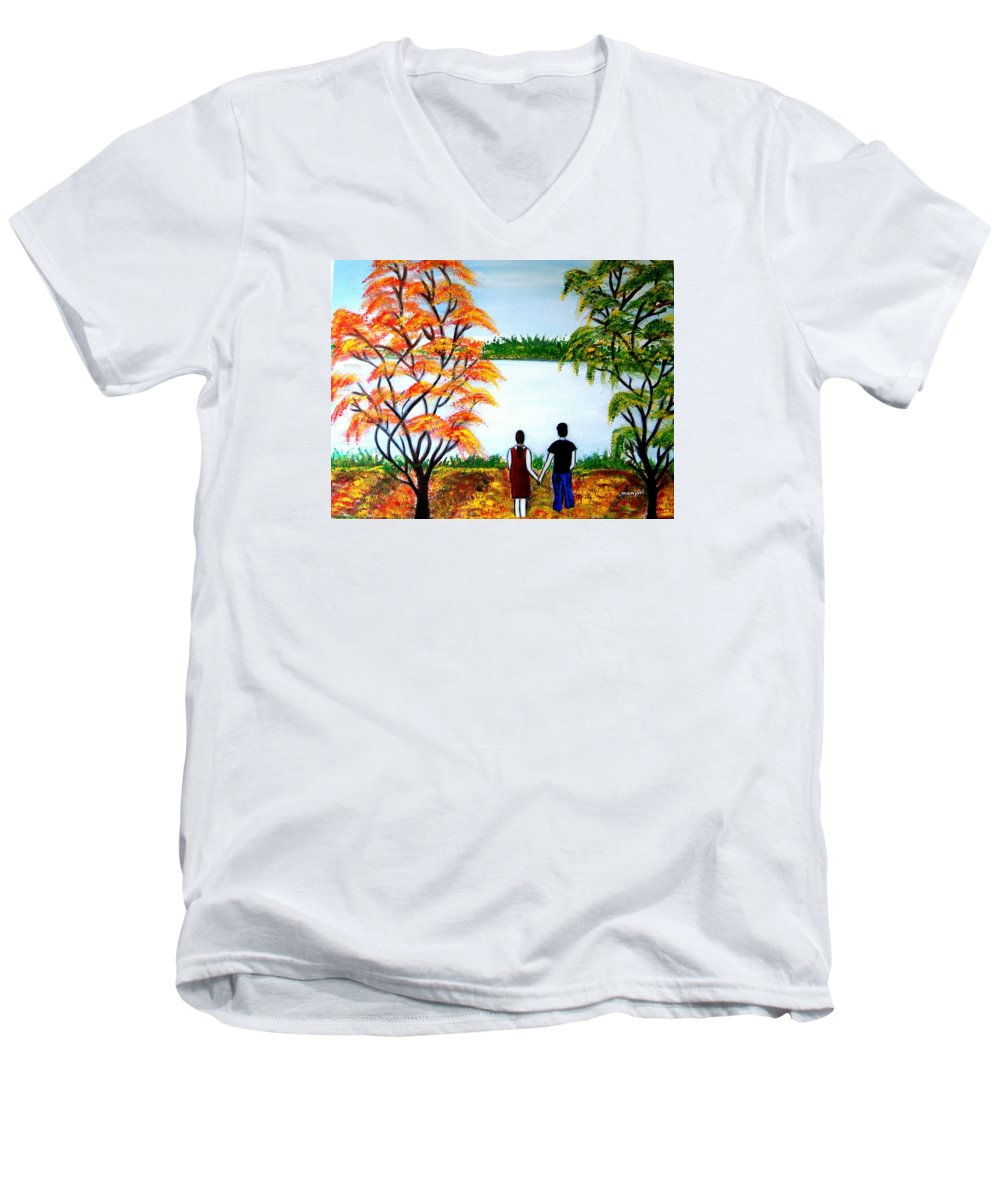 Romance Figures Autumn Orange Trees Green Pop Water Lake Love Valentine Yellow Lake Spring Bloom Men's V-Neck T-Shirt featuring the painting Romance In Autumn by Manjiri Kanvinde