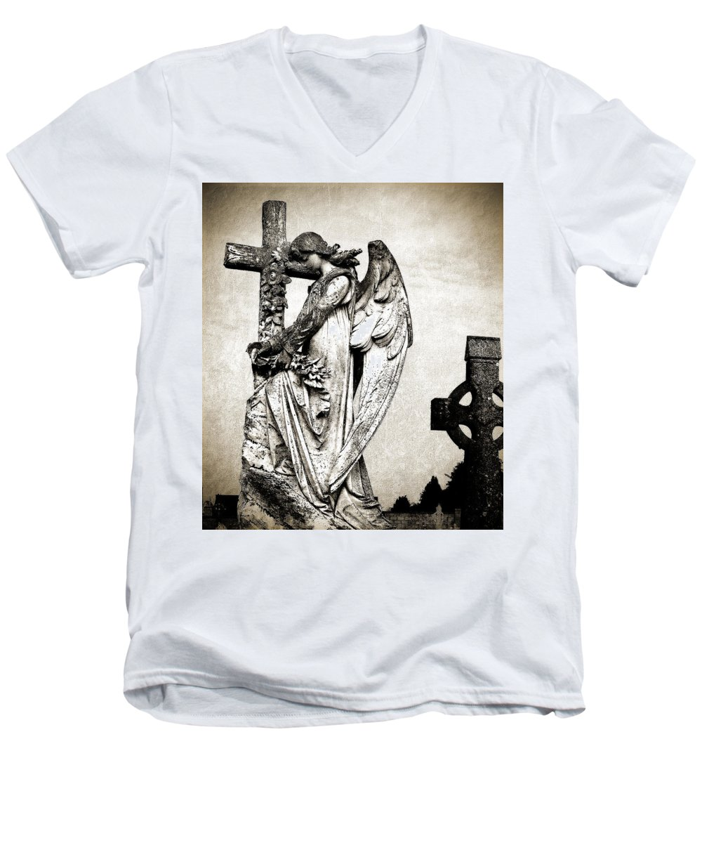 Ireland Men's V-Neck T-Shirt featuring the photograph Roscommon Angel No 1 by Teresa Mucha