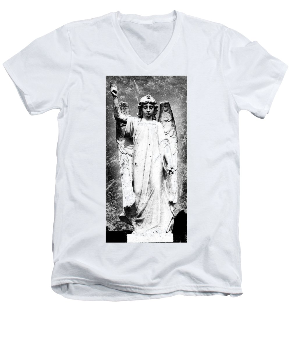 Roscommon Men's V-Neck T-Shirt featuring the photograph Roscommon Angel No 2 by Teresa Mucha