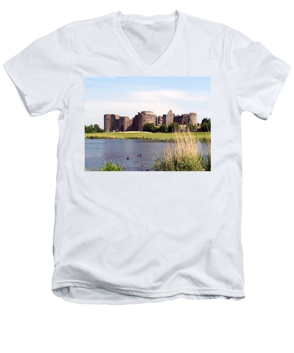 Roscommon Men's V-Neck T-Shirt featuring the photograph Roscommon Castle Ireland by Teresa Mucha