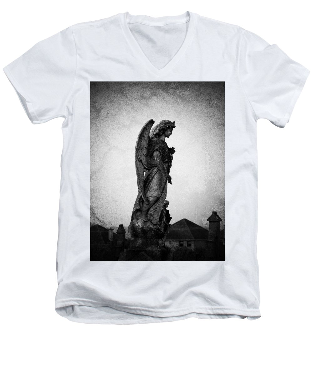 Roscommon Men's V-Neck T-Shirt featuring the photograph Roscommonn Angel No 4 by Teresa Mucha