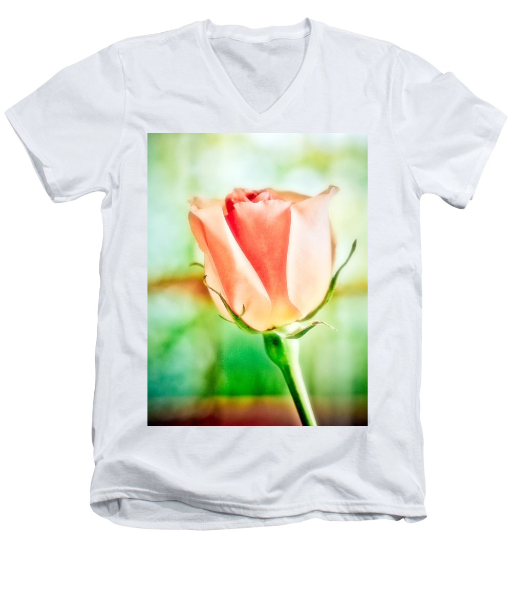 Rose Men's V-Neck T-Shirt featuring the photograph Rose In Window by Marilyn Hunt