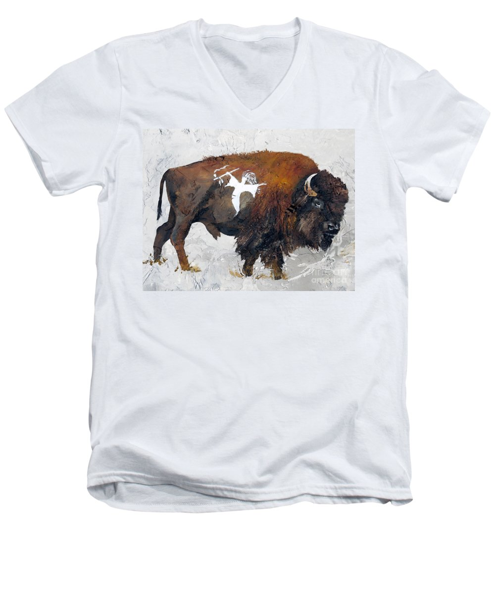 Southwest Art Men's V-Neck T-Shirt featuring the painting Sacred Gift by J W Baker