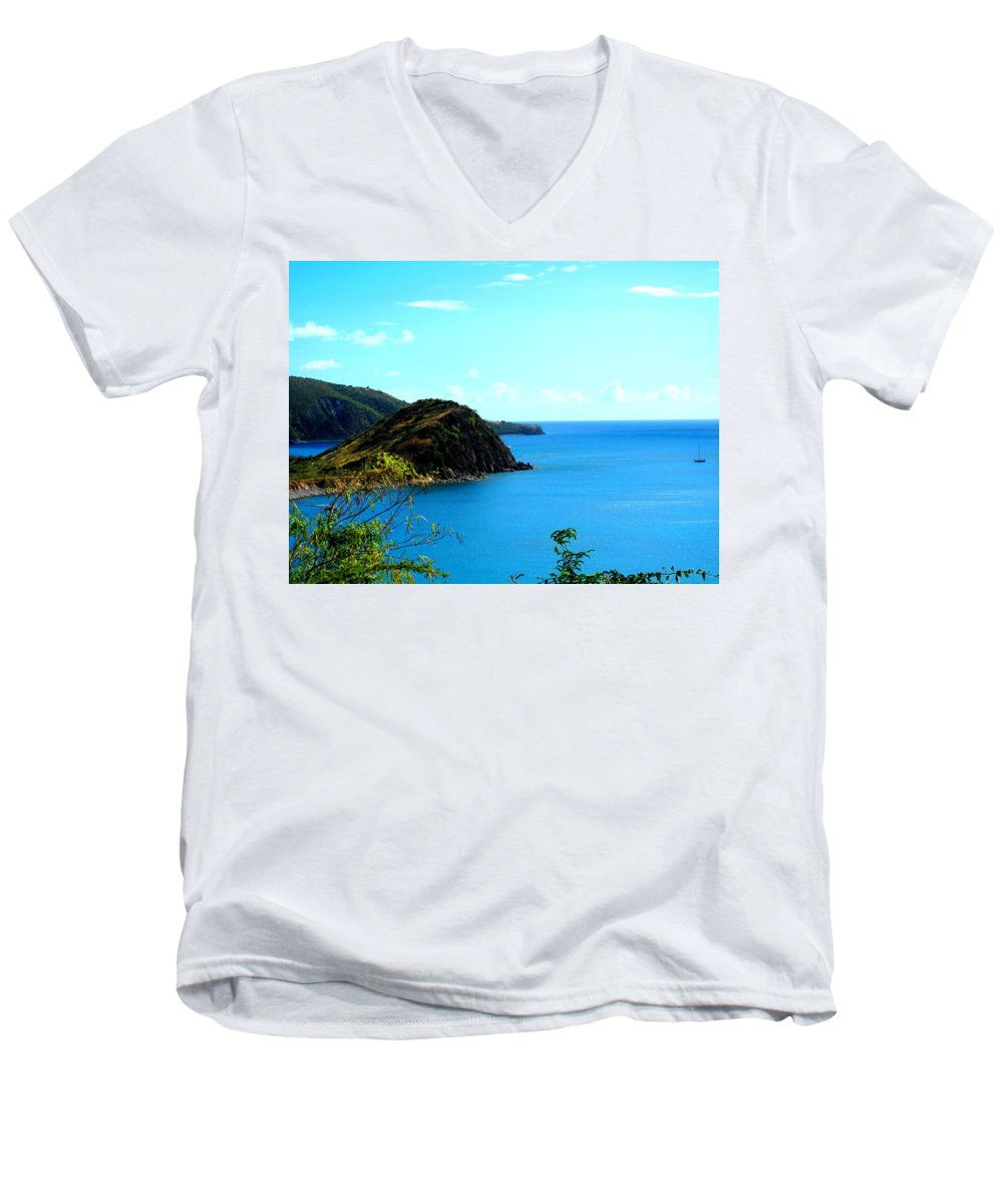 St Kitts Men's V-Neck T-Shirt featuring the photograph Safe Harbor by Ian MacDonald
