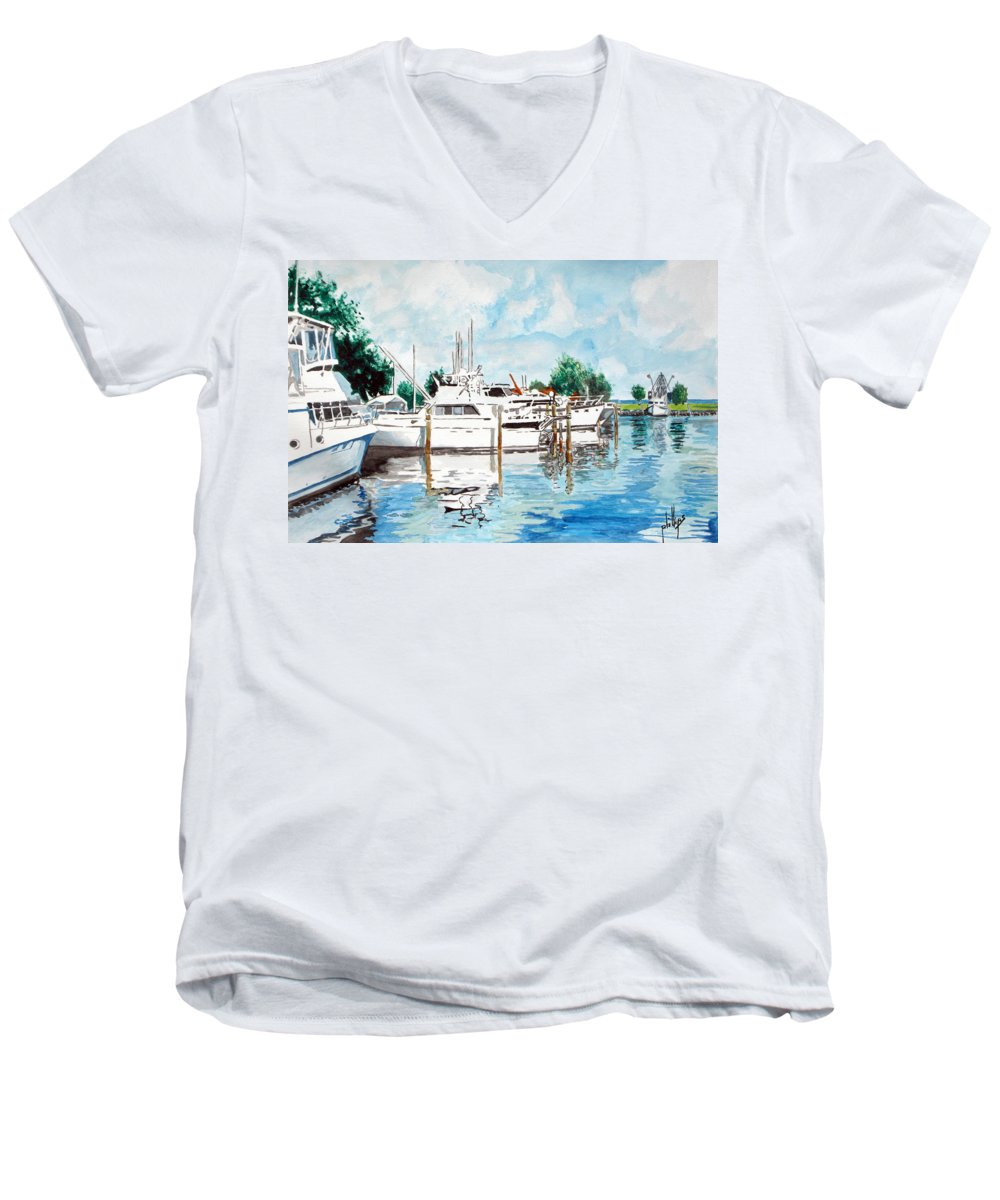 Boats Harbor Coastal Nautical Men's V-Neck T-Shirt featuring the painting Safe Harbor by Jim Phillips