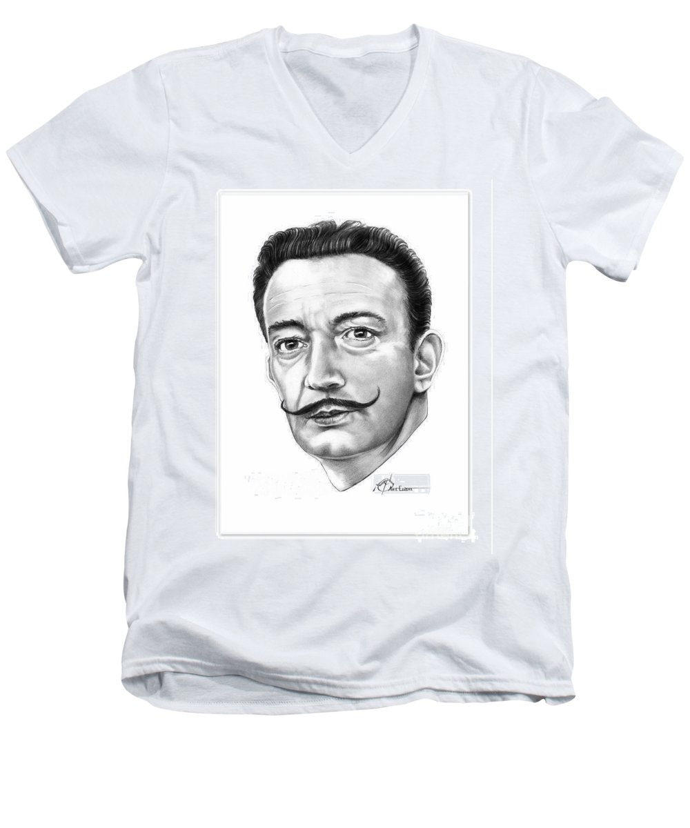Drawing Men's V-Neck T-Shirt featuring the drawing Salvador Dali by Murphy Elliott