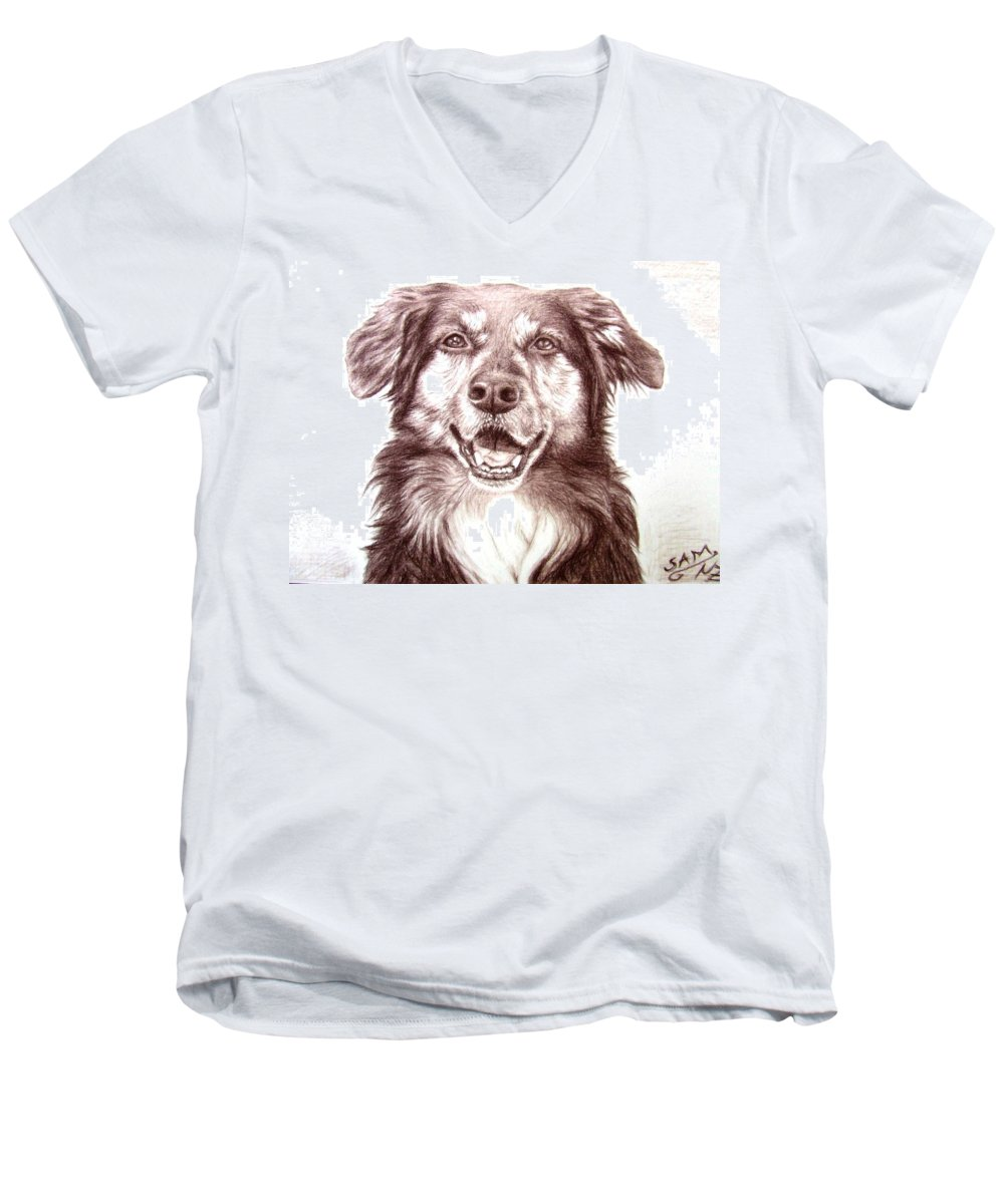 Dog Men's V-Neck T-Shirt featuring the drawing Sam by Nicole Zeug