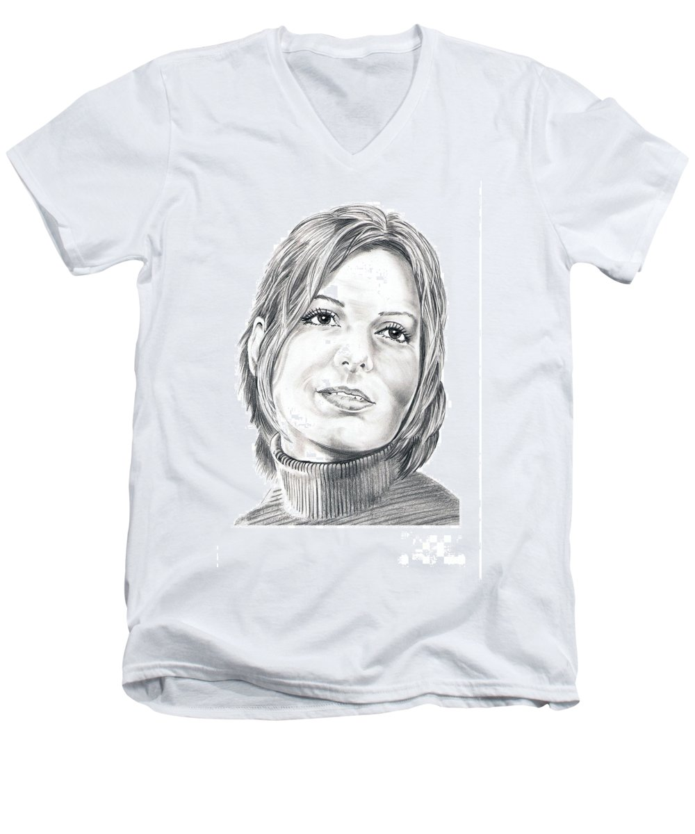 Drawing Men's V-Neck T-Shirt featuring the drawing Sandra Bullock by Murphy Elliott