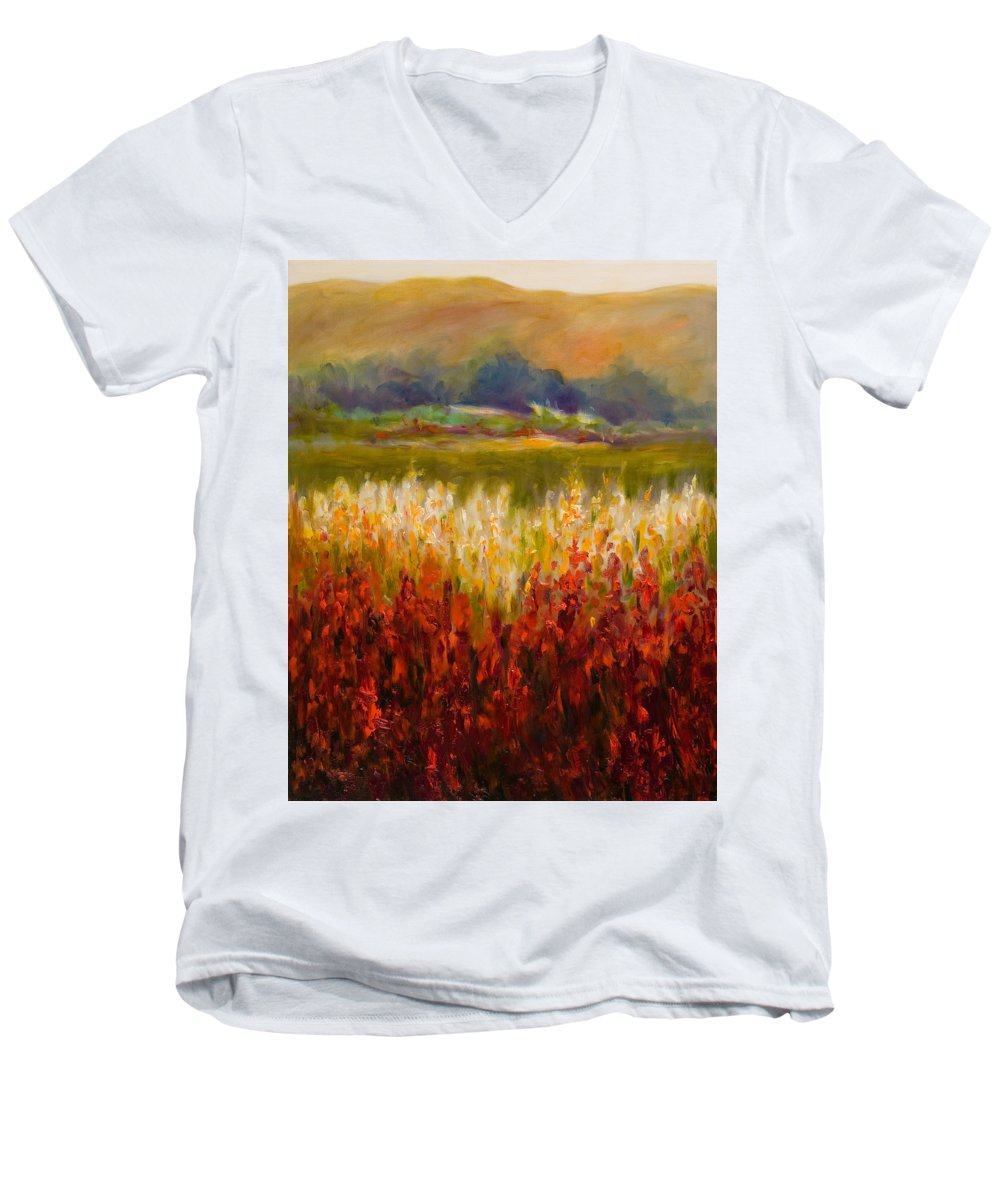 Landscape Men's V-Neck T-Shirt featuring the painting Santa Rosa Valley by Shannon Grissom