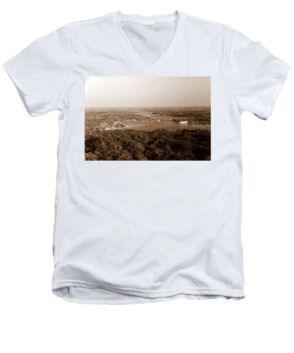 Saugatuck Men's V-Neck T-Shirt featuring the photograph Saugatuck Michigan Harbor Aerial Photograph by Michelle Calkins