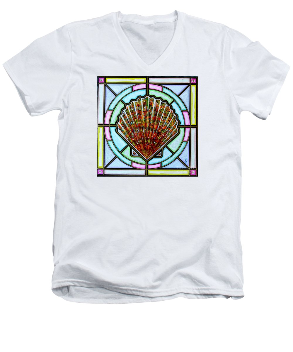 She Shells Men's V-Neck T-Shirt featuring the painting Scallop Shell 1 by Jim Harris