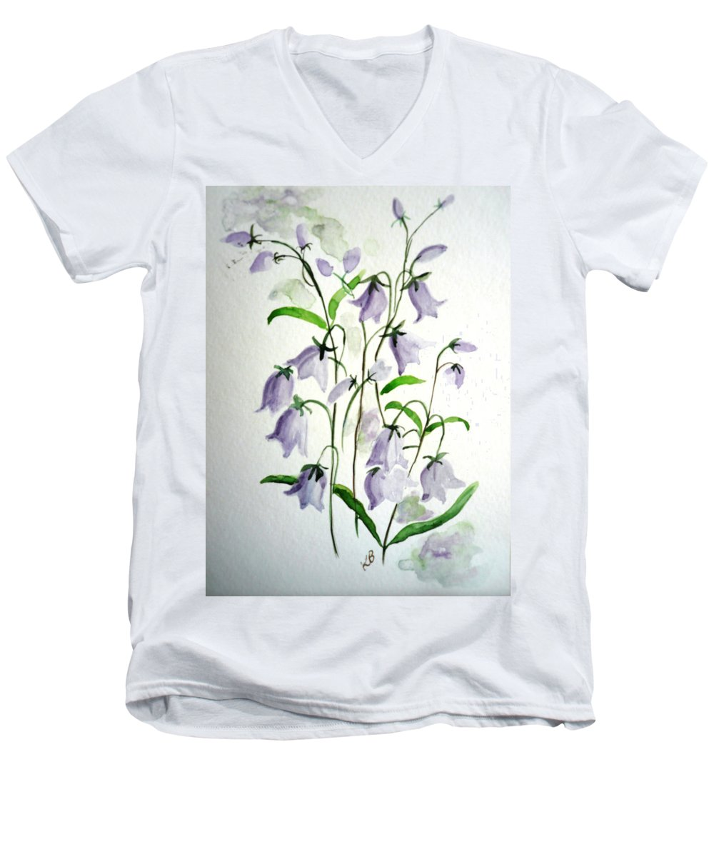 Blue Bells Hare Bells Purple Flower Flora Men's V-Neck T-Shirt featuring the painting Scottish Blue Bells by Karin Dawn Kelshall- Best