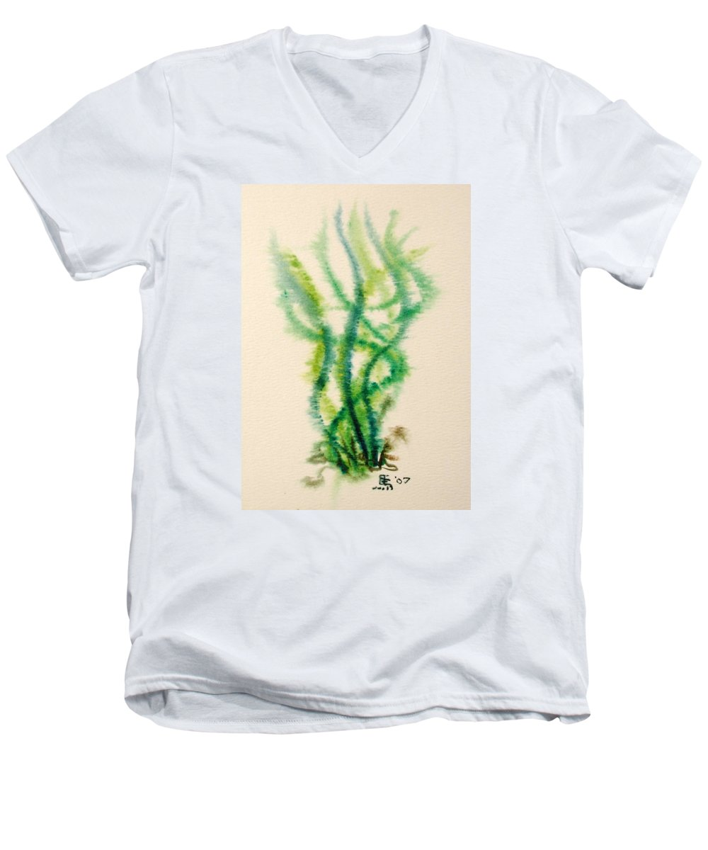 Sea Men's V-Neck T-Shirt featuring the painting Sea Bed One by Dave Martsolf