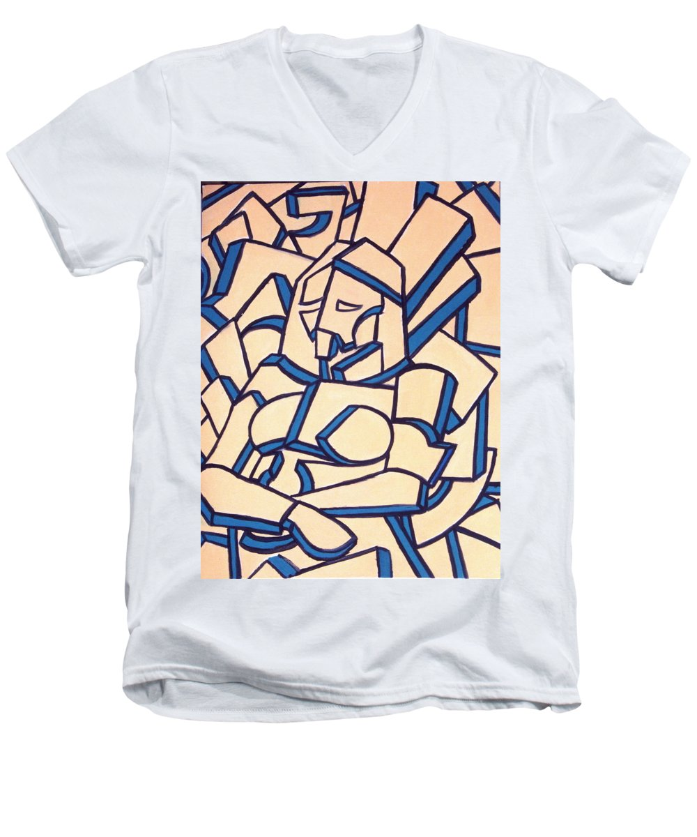 Girl Men's V-Neck T-Shirt featuring the painting Seated Women by Thomas Valentine