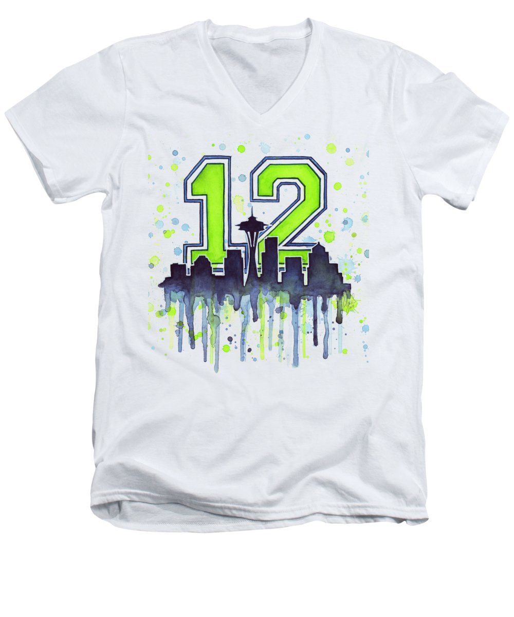 Seattle Men's V-Neck T-Shirt featuring the painting Seattle Seahawks 12th Man Art by Olga Shvartsur