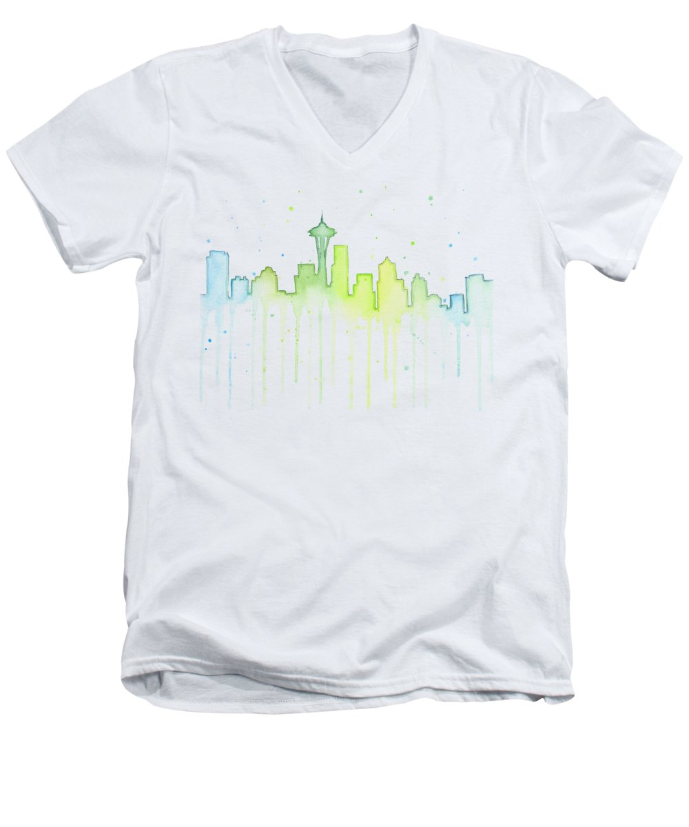 Seattle Men's V-Neck T-Shirt featuring the painting Seattle Skyline Watercolor by Olga Shvartsur
