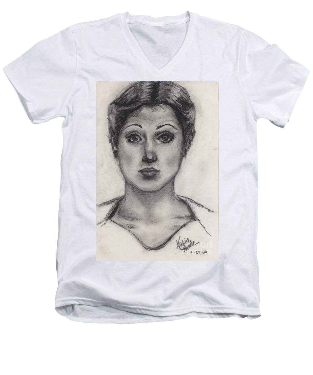 Nadine Men's V-Neck T-Shirt featuring the drawing Self Portrait At Age 18 by Nadine Rippelmeyer