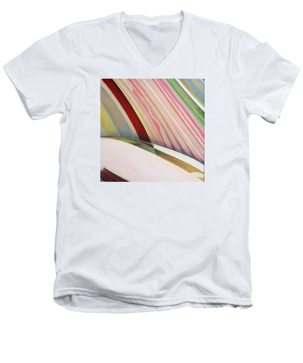 Abstract Men's V-Neck T-Shirt featuring the painting Sens 1 by Muriel Dolemieux