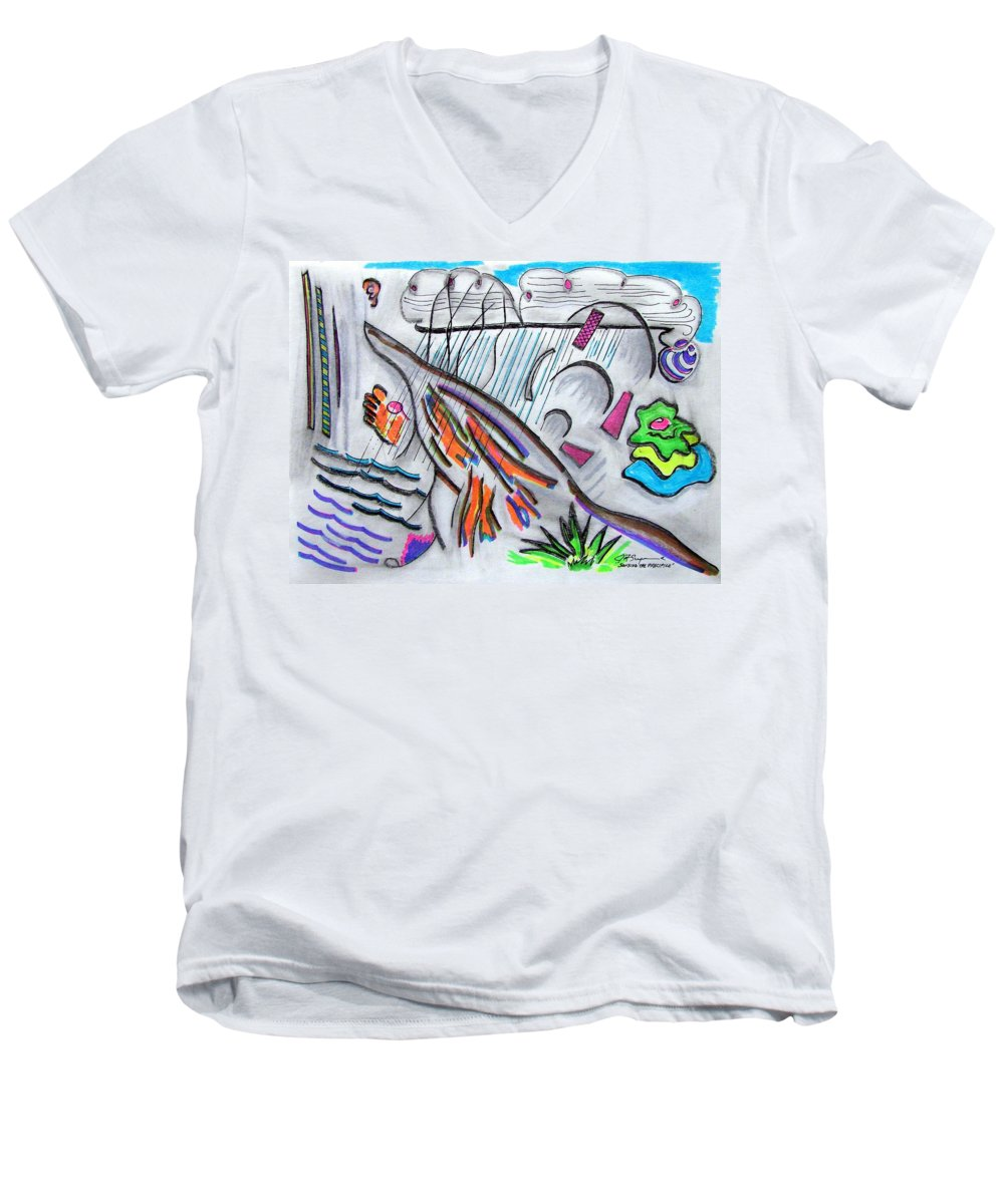 Abstract Drawing Men's V-Neck T-Shirt featuring the drawing Sensing The Precipice by J R Seymour