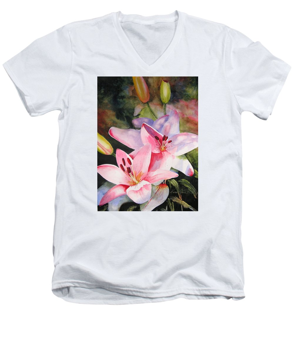 Lilies Men's V-Neck T-Shirt featuring the painting Shady Ladies by Karen Stark