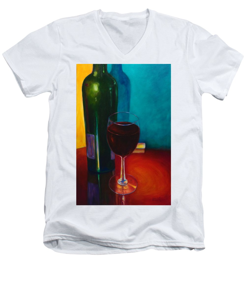 Wine Bottle Men's V-Neck T-Shirt featuring the painting Shannon's Red by Shannon Grissom
