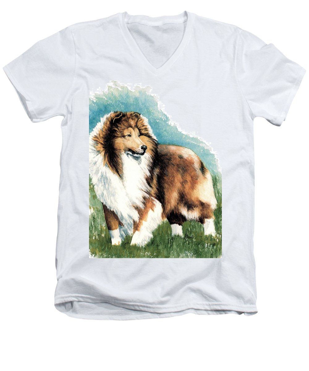 Shetland Sheepdog Men's V-Neck T-Shirt featuring the painting Sheltie Watch by Kathleen Sepulveda