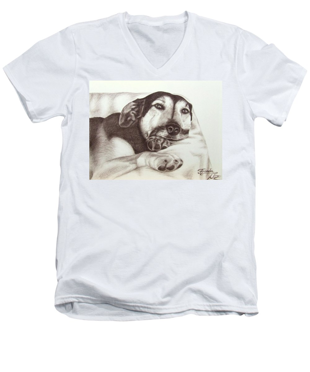 Dog Men's V-Neck T-Shirt featuring the drawing Shepherd Dog Frieda by Nicole Zeug