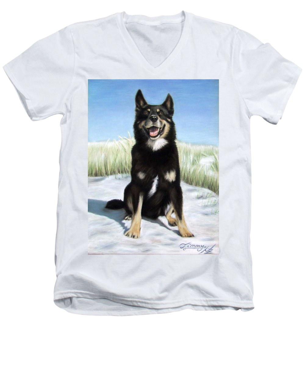 Dog Men's V-Neck T-Shirt featuring the pastel Shepherd Mix Timmy by Nicole Zeug