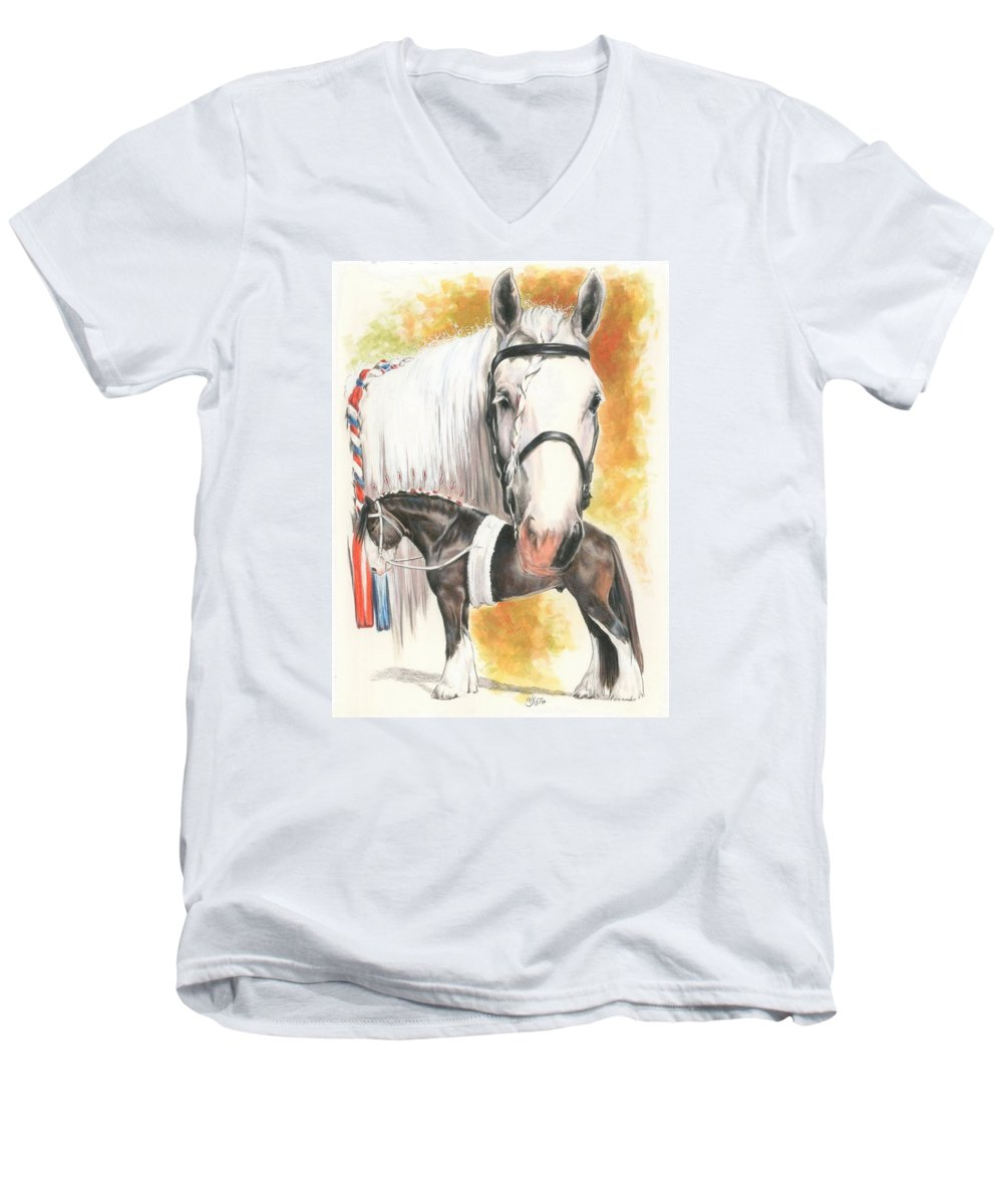 Shire Men's V-Neck T-Shirt featuring the mixed media Shire by Barbara Keith