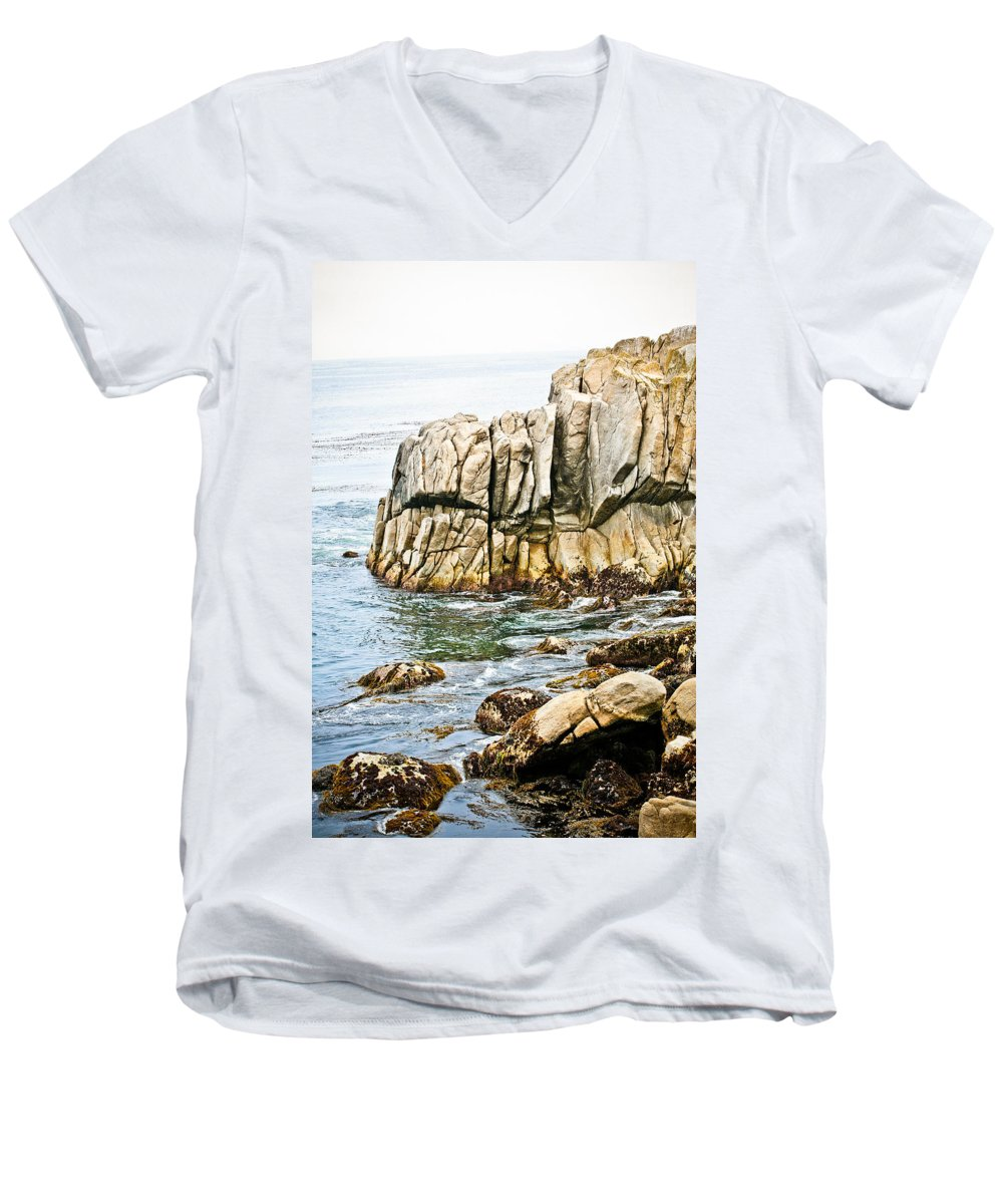 Pebble Beach Men's V-Neck T-Shirt featuring the photograph Shores Of Pebble Beach by Marilyn Hunt