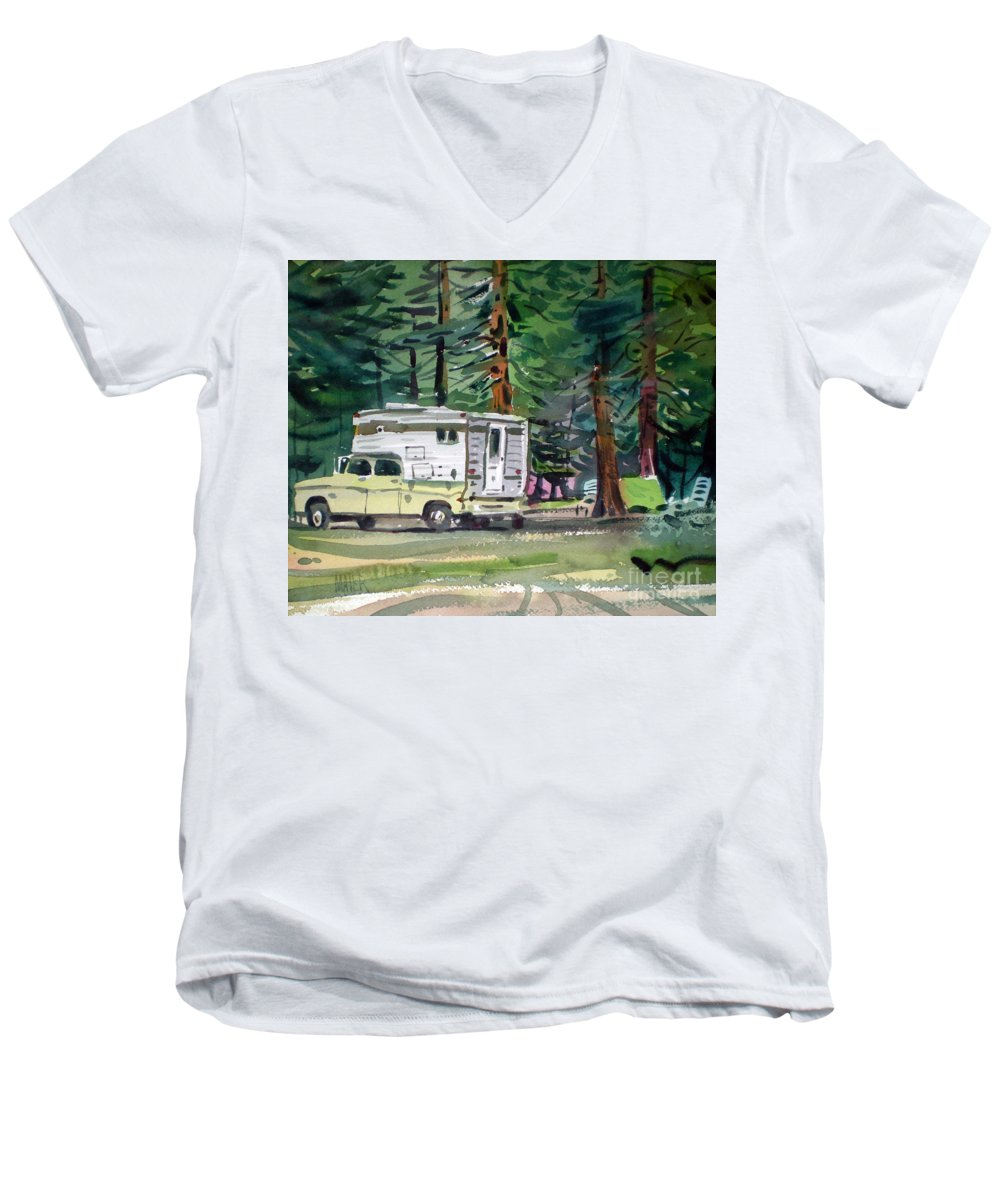 Camping Men's V-Neck T-Shirt featuring the painting Sierra Campsite by Donald Maier