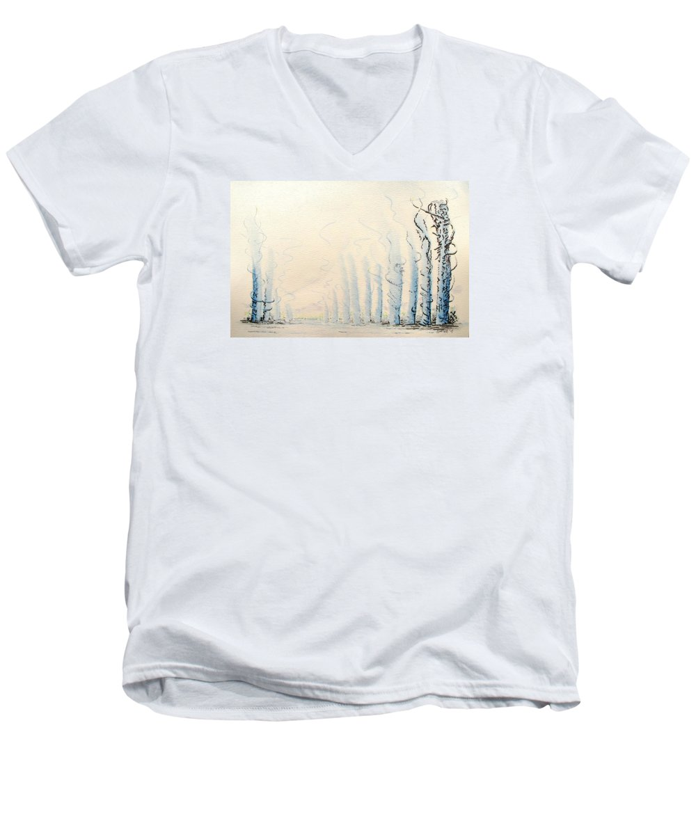 Watercolor Men's V-Neck T-Shirt featuring the painting Signals by Dave Martsolf