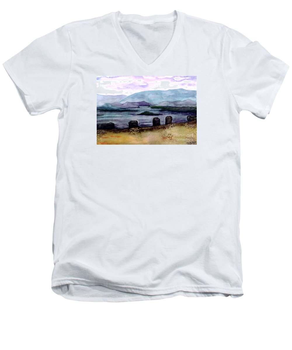 Original Painting Men's V-Neck T-Shirt featuring the painting Silent Sentinels by Patricia Griffin Brett