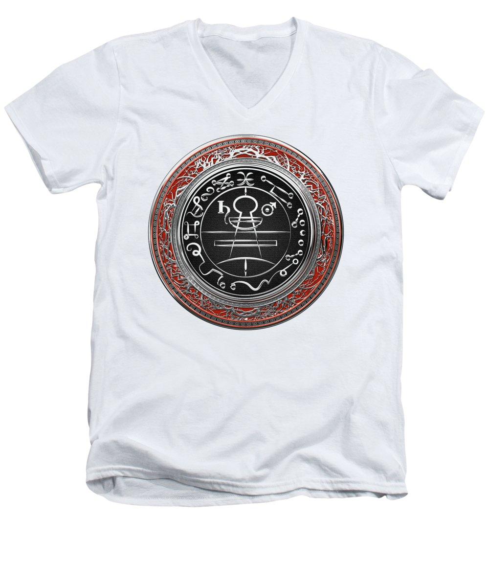 Silver Seal Of Solomon - Lesser Key Of Solomon On White Leather Men's  V-Neck T-Shirt